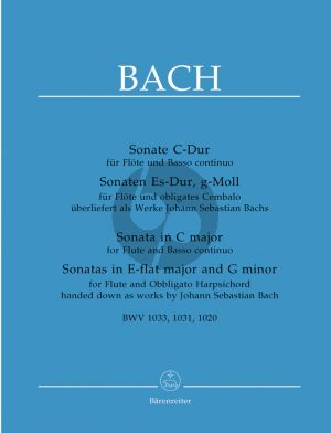 Bach 3 Sonaten (C-dur BWV 1031 , Es-dur BWV 1033 und g-moll BWV 1020) (attrib. to Bach) (Flute-Bc) (edited by A.Durr) (Barenreiter)