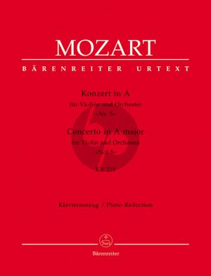 Mozart Concerto No.5 A-dur KV 219 Violine-Orchester (KA) (mit Kadenzen) (mit Kadenzen) (ed. Christoph-Hellmut Mahling)