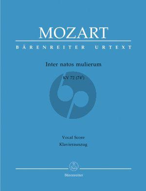 Mozart Inter natos mulierum KV 72 (74f) (SATB- 3 Tromb.- 2 Vi.-Bc) (Vocal Score) (Barenreiter)