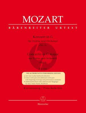 Mozart Concerto No.3 G-dur KV 216 Violine und Orchester (Klavierauszug) (mit Kadenzen von Franco, Auer, Ysaye und Wulfhorst)