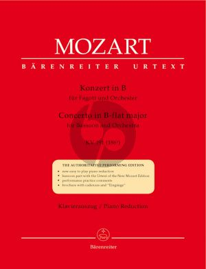 Mozart Concerto B-flat major KV 191 (Bassoon-Orch.) (piano red.) (Barenreiter-Urtext)