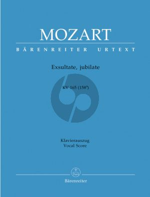 Mozart Exultate Jubilate - Motet KV 165 (158a) Soprano solo-Orch.-Organ Vocal Score (edited by Helmut Federhofer)