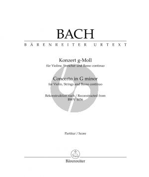 Bach Concerto g-minor (after BWV 1056) Violin-Strings and Basso Continuo (Score)