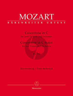 Mozart Concertone C-dur KV 190 (166b-K:186E) 2 Violinen-Orchester Klavierauszug (ed. Chr.H.Mahling) (Barenreiter-Urtext)