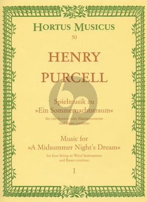 """Purcell Spielmusik zum Sommernachtstraum Vol. 1 Streicher und Bc Partitur (Bühnenmusik aus """"Fairy Queen"""") (Hilmar Höckner)"""