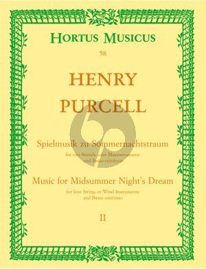 """Purcell Spielmusik zum Sommernachtstraum Vol. 2 Streicher und Bc Partitur (Bühnenmusik aus """"Fairy Queen"""") (Hilmar Höckner)"""