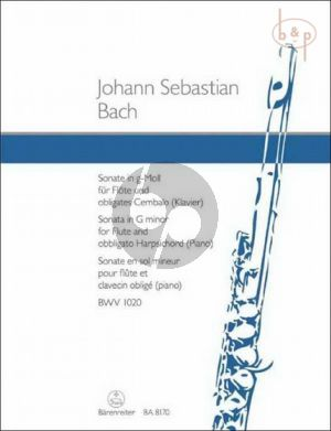 Bach Sonate g-moll BWV 1020 Flote und Obl. Cembalo (edited by Alfred Durr)