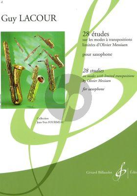 28 Etudes sur les Modes à Transpositions limitées d'Olivier Messiaen pour Saxophone