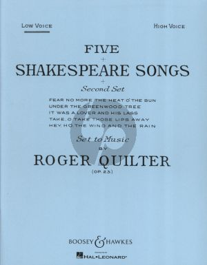 Quilter 5 Shakespeare Songs Op.23 Set 2 Low Voice and Piano
