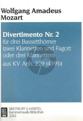 Mozart Divertimento No.2 B-dur aus KV Anh.229 (439b) 3 Bassethorner in F oder 2 Klarinetten in B und Fagott oder 3 Klarinetten in B (Herausgegeben von Trio di Clarone) (Partitur und Stimmen)
