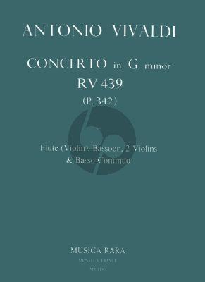 Vivaldi Concerto g-minor RV 439 (P.342) Flute[Vi.]-Bsn.-2 Vi.-Bc) (Score/Parts) (David Lasocki)