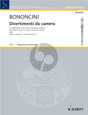 Bononcini Divertimenti da Camera Vol.3 Treble Rec.[Fl./Ob./Vi.]) (Violonc.[Viola da Gamba ad lib.) mit Bc (Hugo Ruf)