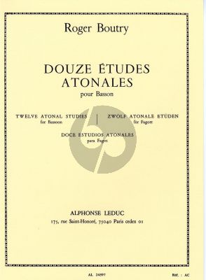 Boutry 12 Etudes Atonales Bassoon