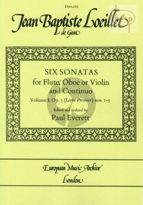 Loeillet de Gant 6 Sonatas Op.5 (Livre Premier) Vol.1 (No.1-3) Flute-Bc