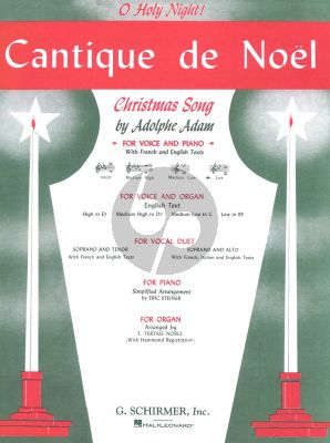 Adam Cantique de Noel (Low Voice (Bb)-Piano) (French-English) (Edited Carl Deis)