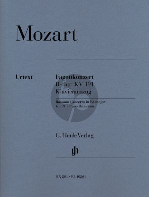 Mozart Concerto B-flat major KV 191 (186e) (Bassoon-Orch.) Edition Bassoon and Piano (Piano reduction by Siegfried Petrenz, Edited by Ernst Hettrich, Cadenzas by Robert D. Levin) (Henle-Urtext)