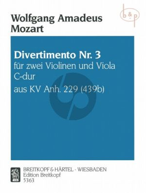 Divertimento No.3 C-major KV Anh.229