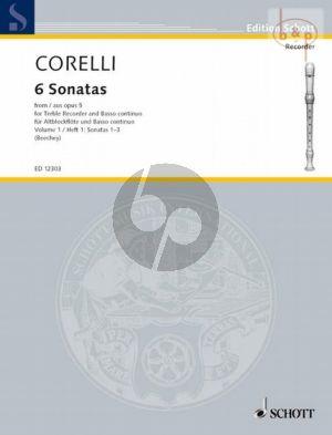 6 Sonatas from Op.5 Vol.1 Treble Recorder-Bc