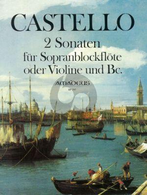 Castello 2 Sonaten Descant Recorder(Violin)-Bc (edited by Martin Nitz)