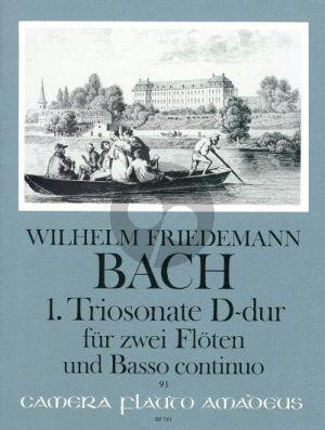 Bach 1. Triosonate D-dur 2 Floten - Basso Continuo (Falck 37) (Elisabeth Weinzierl, Edmund Wächter)