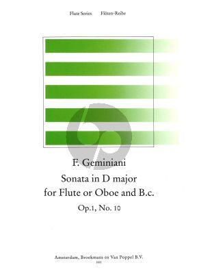 Geminiani Sonata D-major Op.1 No.10 Flute[Oboe]-Bc (Score/Parts) (edited by Thiemo Wind)