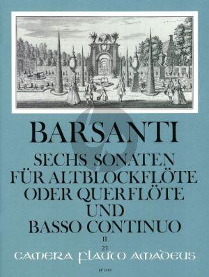 Barsanti 6 Sonaten Vol. 2 No. 4 - 6 Altblockflöte (Flöte)-Bc (Willy Hess)