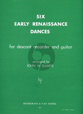 Duarte 6 Early Renaissance Dances for Descant Recorder and Guitar (Playing Score)