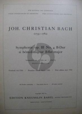 Bach Symphonie B-dur Op.3 / 4 Kammerorchester Partitur (Fritz Kneusslin)