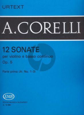 12 Sonatas Op. 5 Vol. 1A No. 1 - 3 Violin and Bc