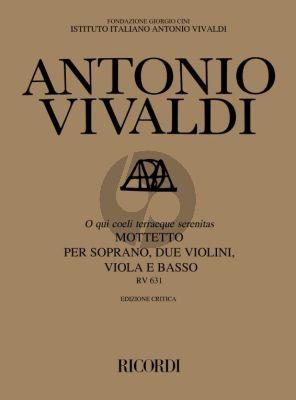 Vivaldi O qui coeli terraeque serenitas RV 631 Soprano-2 Violins-Viola-Basso (Full Score)