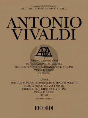Vivaldi Jubilate, o amoeni RV 639/639a - Gloria, RV 588 Full Score (Michael Talbot)
