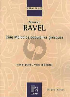 Ravel 5 Melodies Populaires Grecques Low Voice-Piano