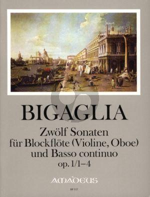 Bigaglia 12 Sonaten Op.1 Vol.1 No.1-4 Blockflöte[Flöte, Violine, Oboe] und Bc. (Herausgeber Bernhard Pauler) (Continuo Christine Gevert)
