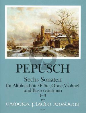 Pepusch 6 Sonaten Vol.1 (Nos.1-3) Altblockflöte (Flöte/Oboe/Violine)-Bc (Harry Joelson)