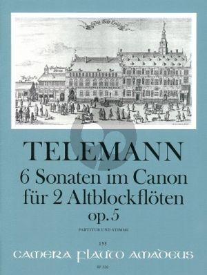 Telemann 6 Sonaten im Canon Op.5 TWV 40:118-123 2 Altblockflöten (Part./Stimmen) (Winfried Michel)