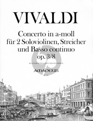 Vivaldi Concerto a-minor Op.3 No.8 (RV 522) (L'Estro Armonico) (2 Violins-Strings-Bc) Piano Reduction (edited by Yvonne Morgan)