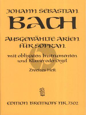 Bach Ausgewahlte Arien Vol.2 (Sopran Stimme mit Obligate Instrumente (Fl./Ob./Vi.]-Klavier[Orgel) (Score/Parts) (Eusebius Mandyczewski)