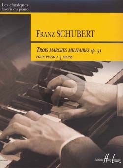Schubert 3 Marches Militaires Op.51 Piano 4 hds.