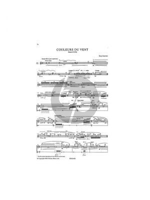 Saariaho Couleurs du Vent for Alto Flute Solo