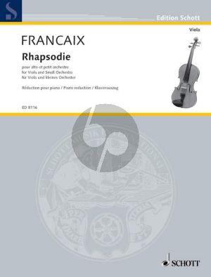 Francaix Rhapsodie (1946) Viola and Small Orchestra (piano red.by Gunter Dornheim)