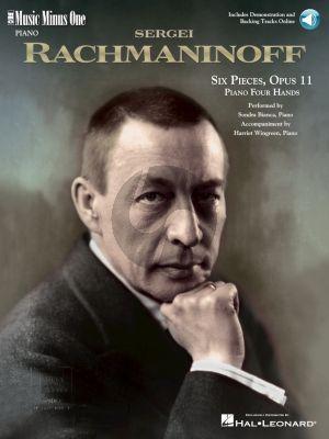 Rachmaninoff 6 Pieces Op.11 Piano 4 Hands Book with Audio Online (Music Minus One)