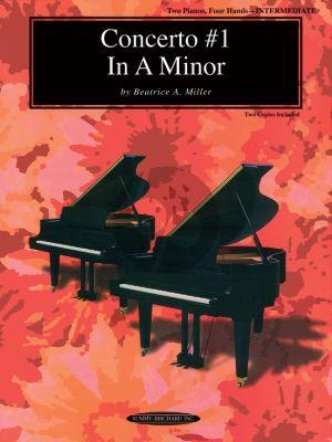 Miller Concerto No.1 A-Minor 2 Pianos 4 Hands (2 Copies Included)