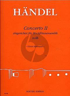 Handel Concerto II 3 Blockflöten (AAB) (Part./Stimmen) (Ulrich Herrmann)