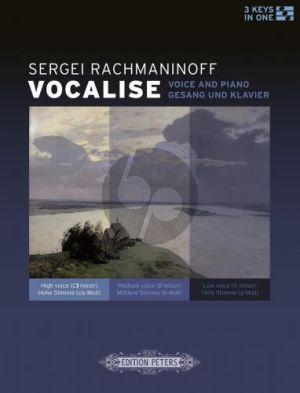 Rachmaninoff Vocalise Op.34 No.14 Voice-Piano (3 Keys High-Medium-Low)