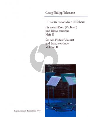 Trietti Metodichi e 3 Scherzi No.2 2 Flutes[2 Vi.]-Bc