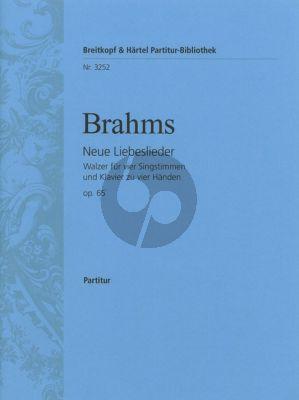 Brahms Neue Liebeslieder Op. 65 SATB-Klavier 4 Hande (Herausgegeben von E. Mandyczewski)