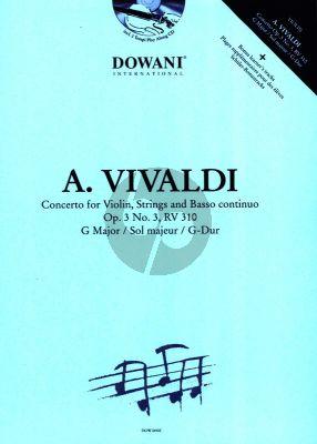 Vivaldi Concerto G-major Op.3 No.3 (RV 310) Violin and Piano (Bk-Cd) (Dowani 3 Tempi Play-Along)