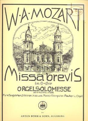 Missa Brevis C-dur KV 259 (Orgel Solo Messe) (Soli-Choir-Orch.)