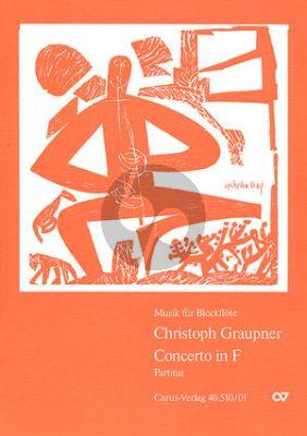 Graupner Concerto F-dur Treble Rec.-Strings-Bc Score
