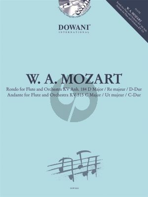 Mozart Rondo D-major KV 184 Anh-Andante C-major KV 315 Flute and Piano (Bk-Cd) (Dowani)